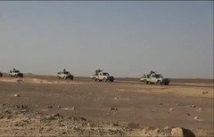 Egyptian military vehicles carry out operations against militants in Sinai as part of Operation Sinai 2018. [Photo courtesy of the Ministry of Defence's Department of Morale Affairs]