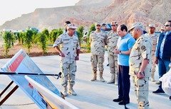 Egyptian president Abdel Fattah al-Sisi inspects the construction of the 'Tunnel-Sharm el-Sheikh Road' that will provide better access to South Sinai's Sharm el-Sheikh. [Photo courtesy of the Egyptian presidency spokesman]