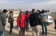 A group of European and Lebanese journalists tour al-Ain water station in the Bekaa Valley. [Nohad Topalian/Al-Mashareq]