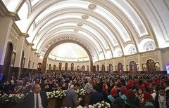 Christian worshippers attend Orthodox Christmas mass and the inauguration of the Cathedral of the Nativity of Christ in Egypt's new administrative capital on Sunday (January 6th). [Mohamed el-Shahed/AFP]