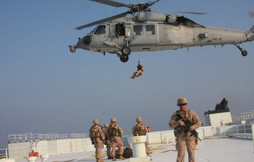 US marines provide security during strait of Hormuz transit